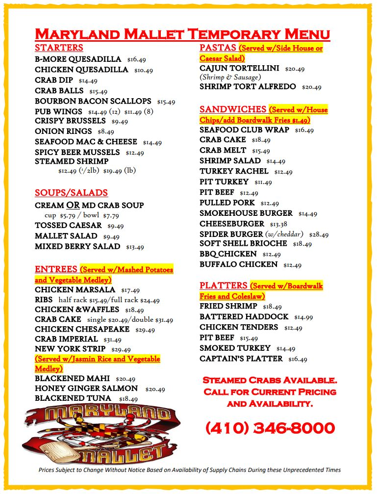 Maryland Mallet Temporary Carryout Menu